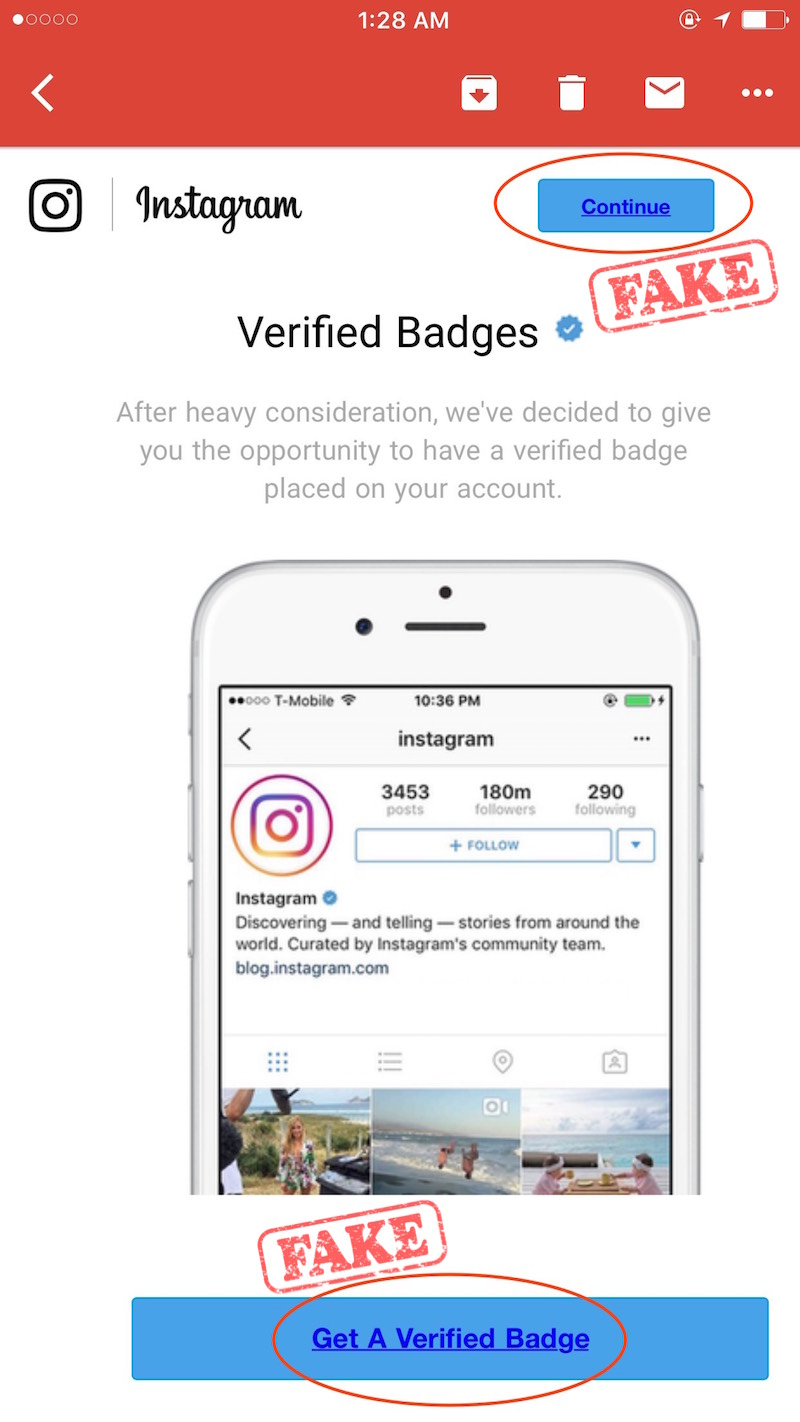 Instagram email verified badge scam
