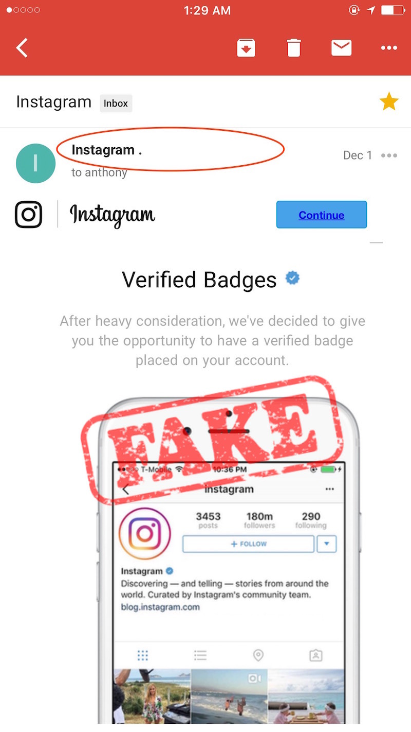 Instagram email badge scam