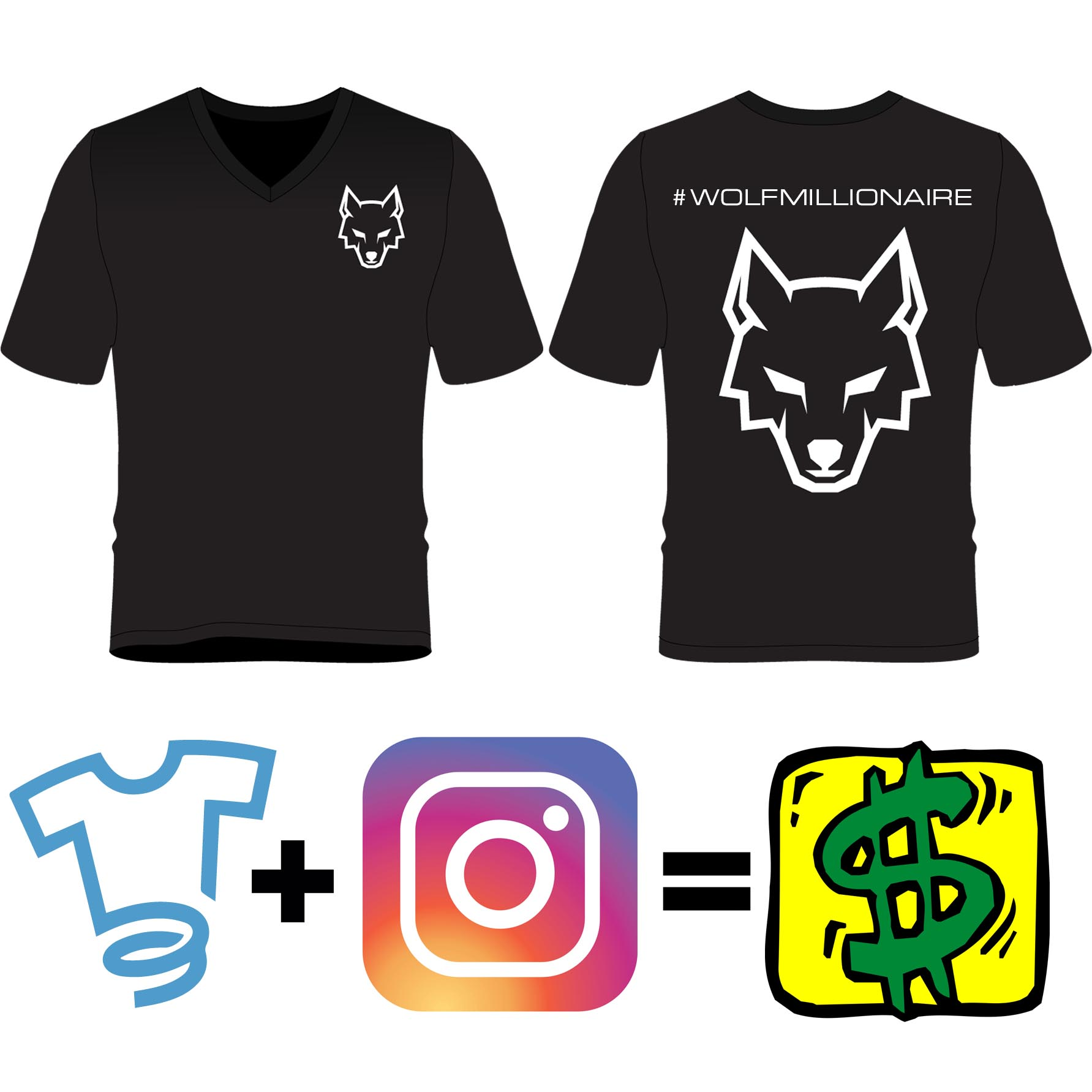 wolf millionaire explains how to create sell t shirts on instagram with no money