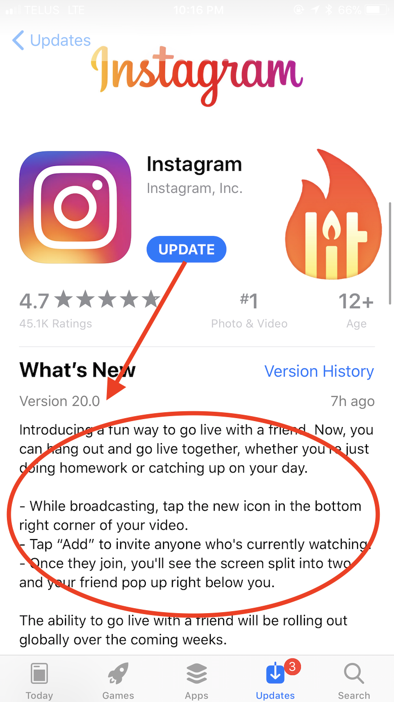 split screen Instagram live update