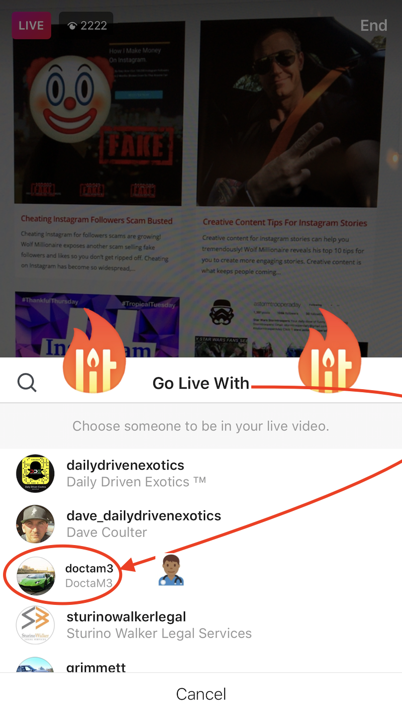 split screen Instagram Go LIVE WITH