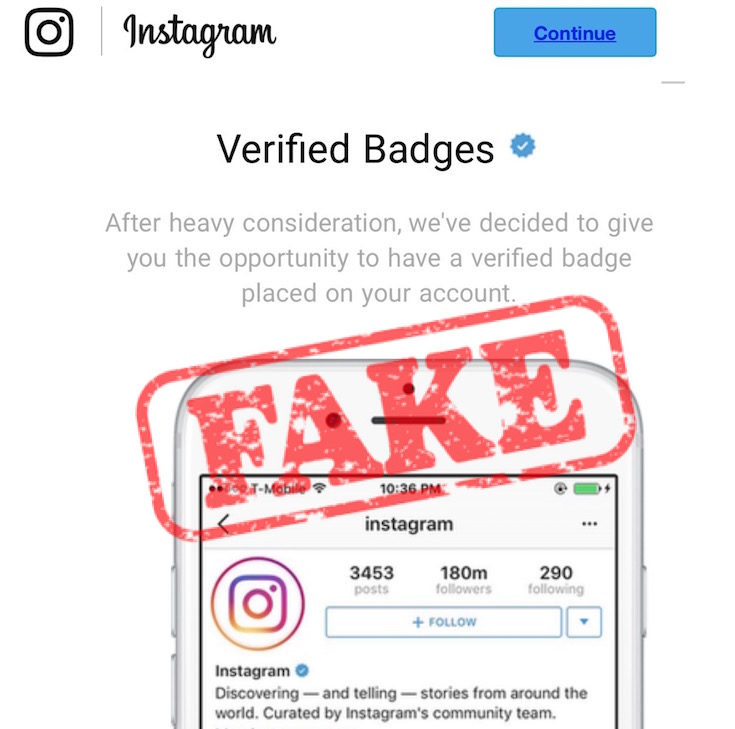 Badge Scam Instagram Emails To Beware Of - Wolf Millionaire
