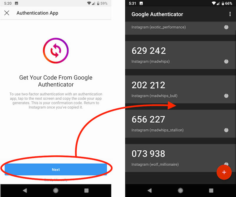 Two-Factor-Instagram-Google-Authenticator