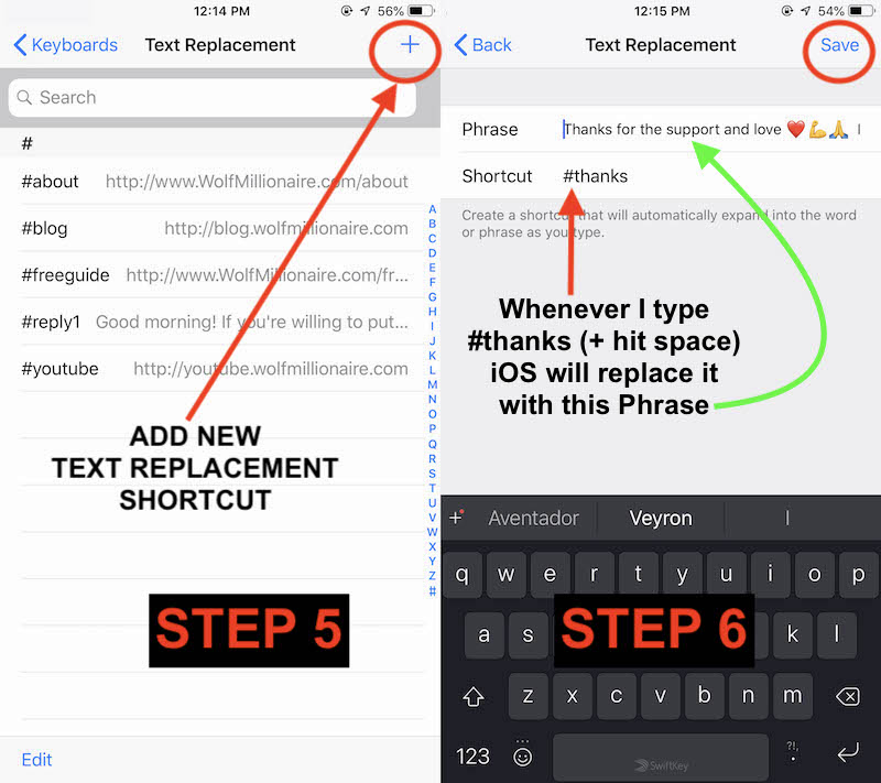 Setting up iPhone Text Replacement for Instagram